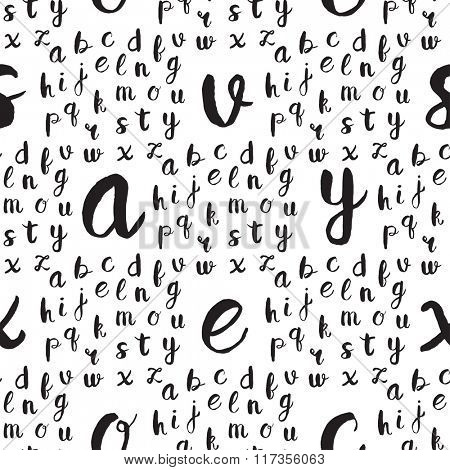 Seamless pattern with black alphabet letters on white background. Vector illustration for web, textile, scrapbooking and other design projects.