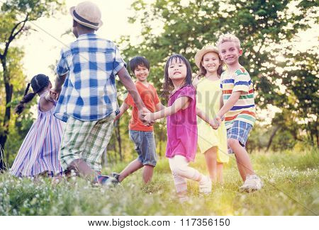 Children Friends Playing Playful Active Concept