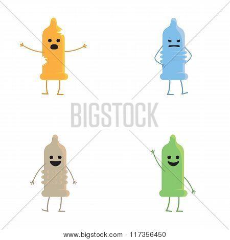 Four condoms of different colors. Different emotions condoms.
