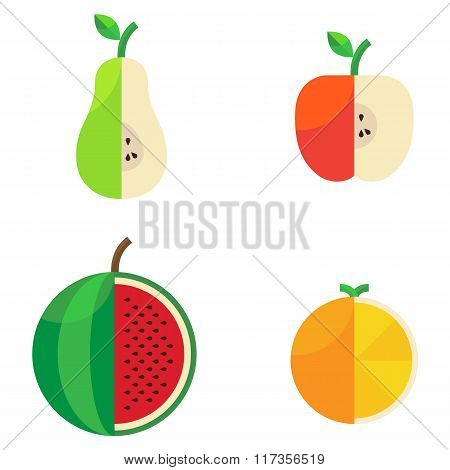 Different cut agricultural beautiful sweet fruit in a flat style