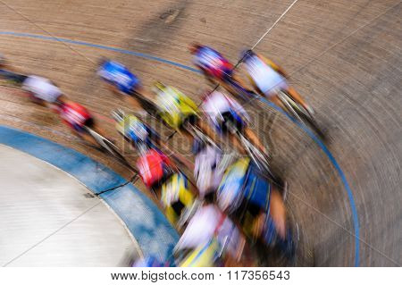 Track Cyclists In Motion