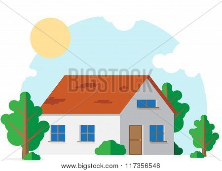 Country house in a circle of trees and shrubs