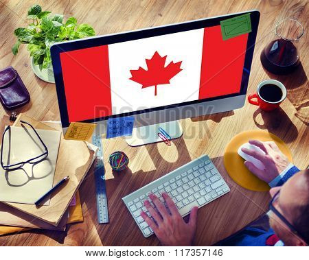 Canada National Flag Business Communication Connection Concept