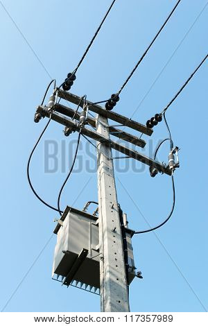 High Voltage Transformers On The Pole.