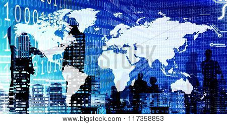 Binary Code  World Map Business People Concept