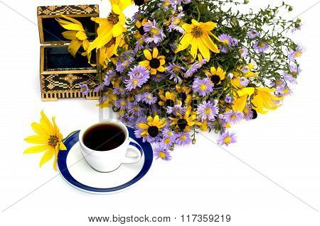 Still Life Beautiful Casket, Coffee And Bouquet Of Flowers