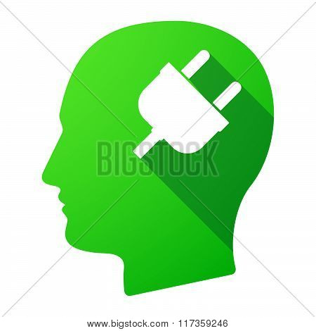 Male Head Icon With A Plug