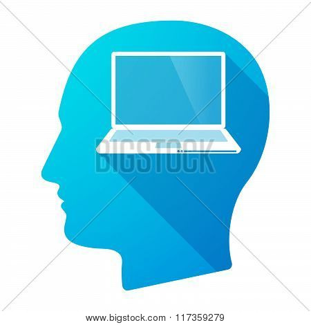 Male Head Icon With A Laptop