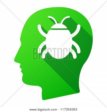 Male Head Icon With A Bug
