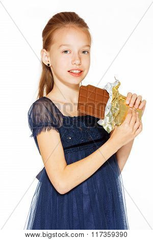 Beautiful girl with chocolate