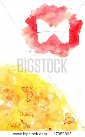 Abstract Design Template With Watercolor Texture And Butterfly