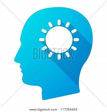 Male Head Icon With A Sun