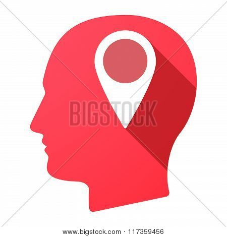 Male Head Icon With A Map Mark