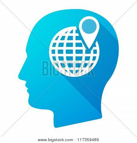 Male Head Icon With A World Globe