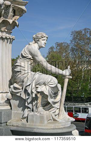 Vienna, Austria - April 22, 2010: Statue Near Austrian Parliament Building, Vienna, Austria