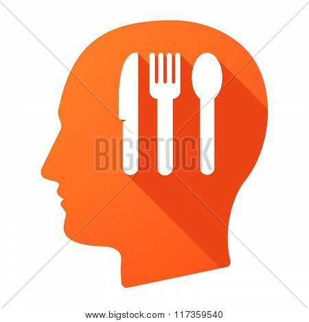 Male Head Icon With Cutlery