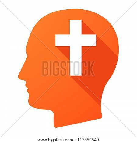 Male Head Icon With A Christian Cross