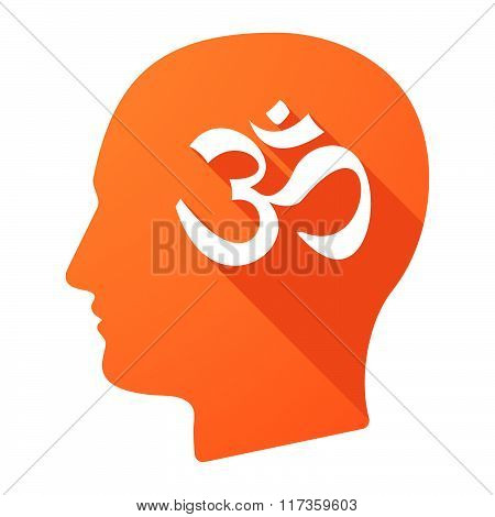 Male Head Icon With An Om Sign