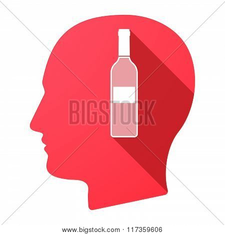 Male Head Icon With A Bottle Of Wine