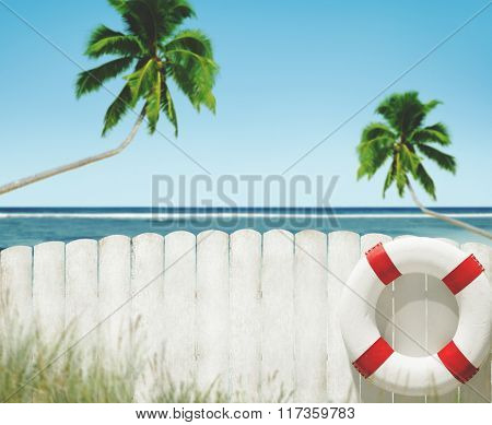 Buoy Coconut Tree Ocean Fence Grass Rural Tranquil Concept