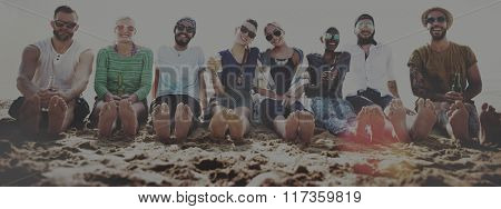 Friends Beach Vacation Party Chilling Concept