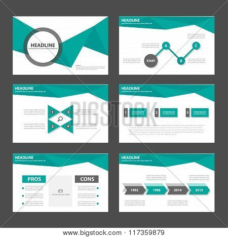 Green polygon presentation templates Infographic elements flat design set
