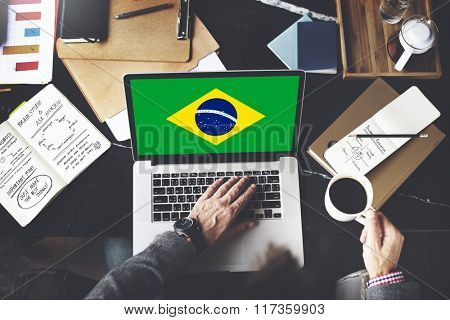 Brazil National Flag Business Communication Connection Concept