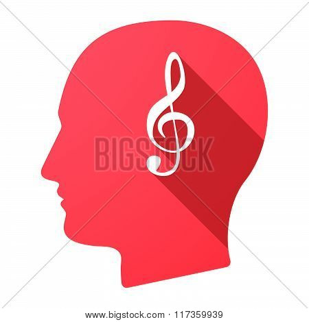 Male Head Icon With A G Clef