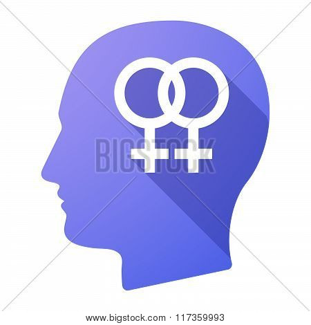 Male Head Icon With A Lesbian Sign