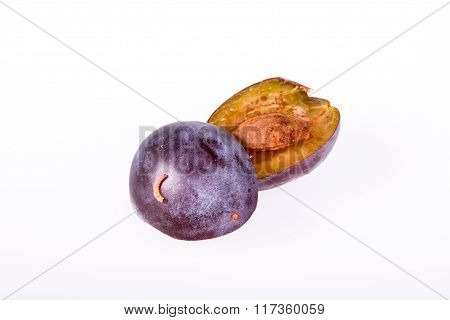 Plum with worm isolated on white - Cydia Funebrana