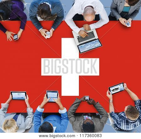 Business Team Connection Meeting Switzerland Flag Concept