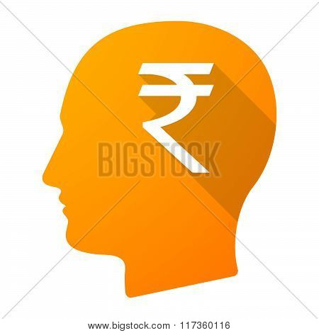 Male Head Icon With A Rupee Sign