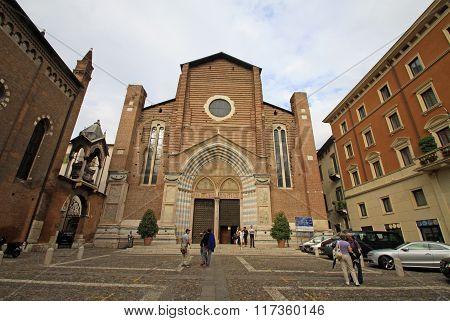 Verona, Italy - September 03, 2012: Santa Anastasia Church In Verona