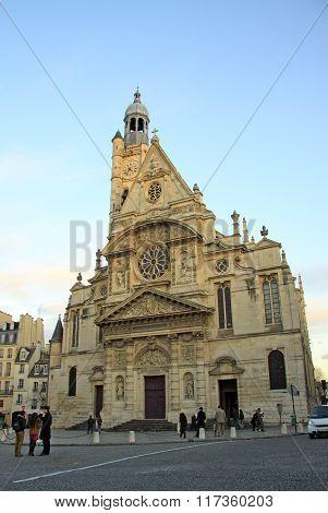Paris, France -18 December 2011: Church Saint-etienne-du-mont Near The Pantheon In Paris