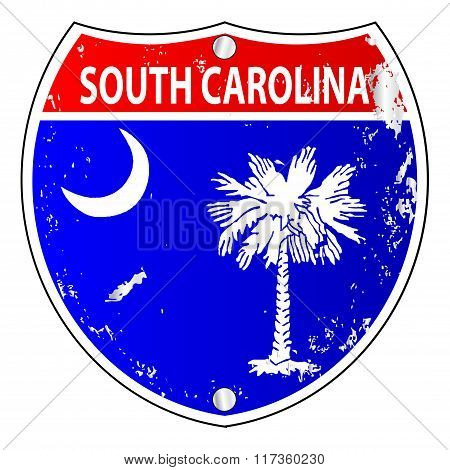 South Carolina Flag Icons As Interstate Sign