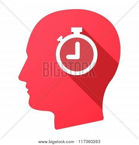 Male Head Icon With A Timer