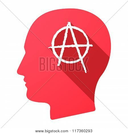 Male Head Icon With An Anarchy Sign