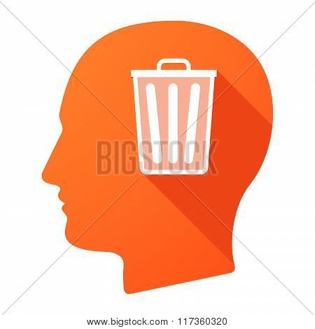 Male Head Icon With A Trash Can
