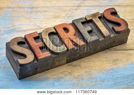 secrets word in vintage letterpress wood type printing blocks