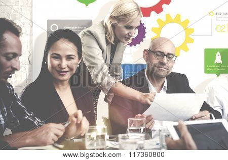 Business Team Analysing Strategy Meeting Concept