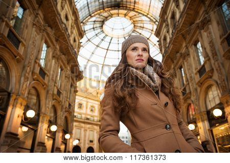 Woman In Galleria Vittorio Emanuele Ii Looking Into Distance