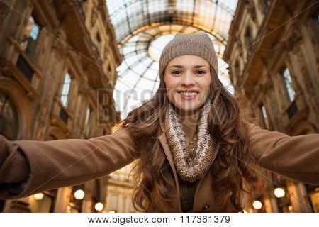 Happy Woman Taking Selfie In Galleria Vittorio Emanuele Ii