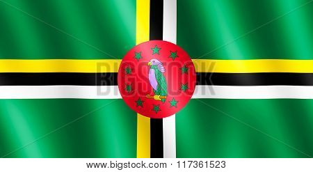 Flag Of Dominica Waving In The Wind
