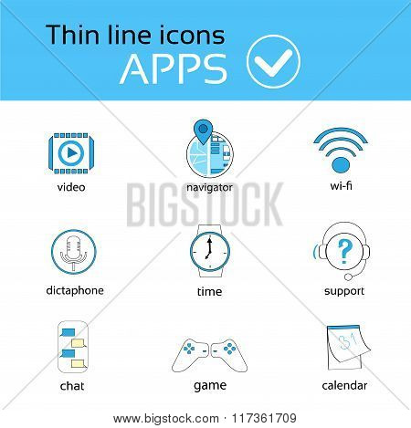 Application Thin Line Icons Set Collection