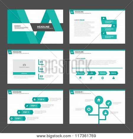Green presentation templates Infographic elements flat design set