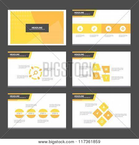 Orange presentation templates Infographic elements flat design set