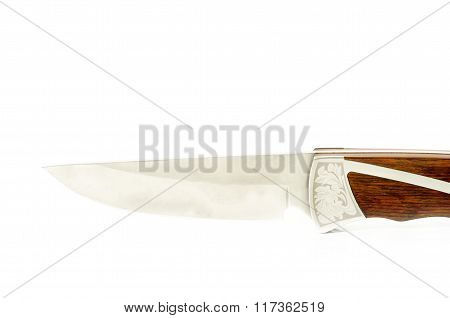 Camping & Hunting Professional Knife With Wood Isolated On White