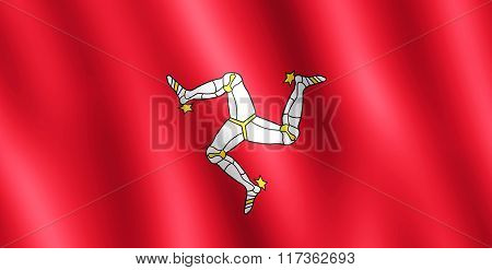 Flag Of Isle Of Man Waving In The Wind