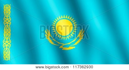 Flag Of Kazakhstan Waving In The Wind