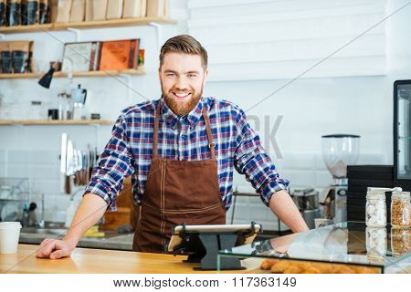 Portrait of happy handsome barista in checkered shirt and brown apron standing in coffee shop